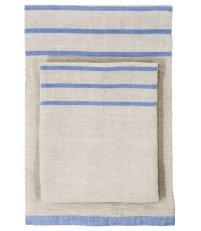 Lniany ręcznik kąpielowy USVA Lapuan Kankurit -  95 x 180 cm, lniano-niebieski