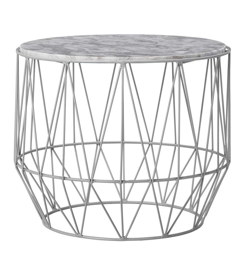 Metalowy stolik kawowy z szarym marmurem Iron Marble