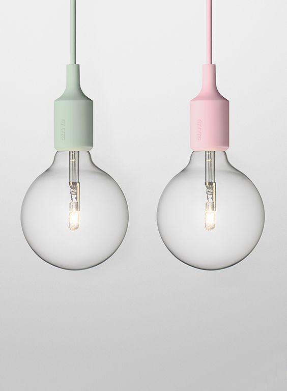 Lampy E27 Muuto w pastelowych odsłonach, Pufa Design
