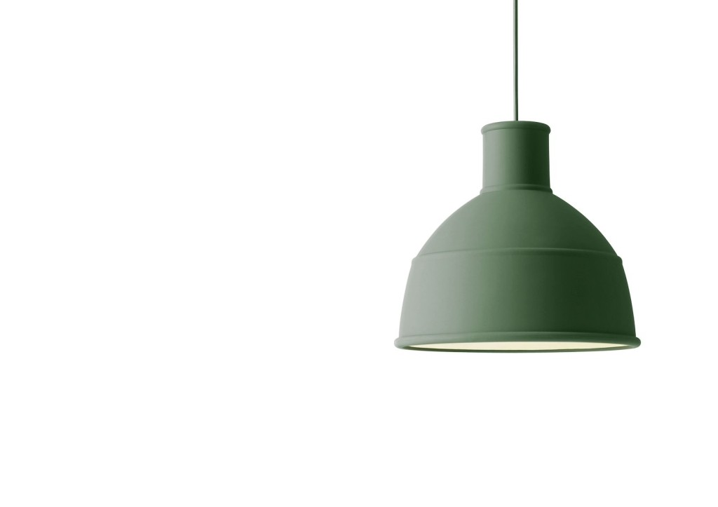 Obłędna szaro-zielona lampa Unfold z silikonu, Muuto, Pufa Design