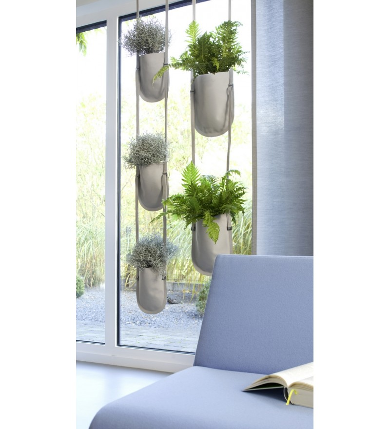 Wisząca donica Urban Garden Authentics - Ø 10 cm, beżowa, Pufa Design