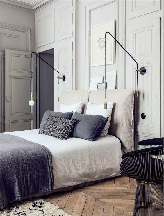 Inspiracja pokazujące efekt, jaki dają kinkiety-pająki we wnętrzu sypialni, fot. Pierre Emmanuel Martin and Stéphane Garotin apartment