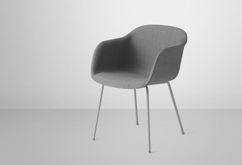 Krzesło tapicerowane Fiber Chair Muuto, Pufa Design