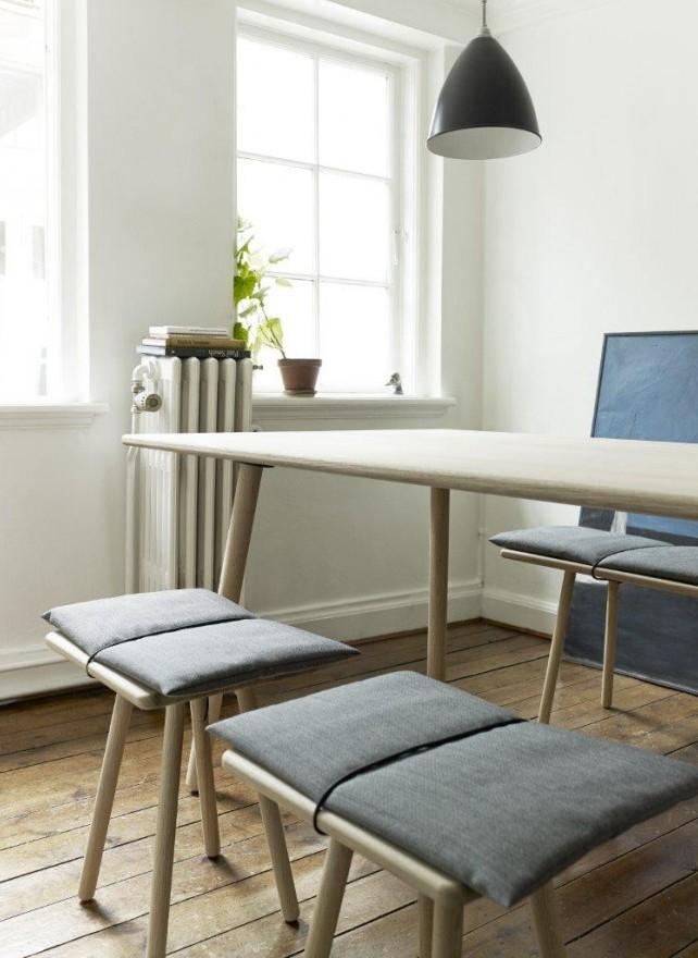 Stołki i ławka dębowa Georg Skagerak, Pufa Design