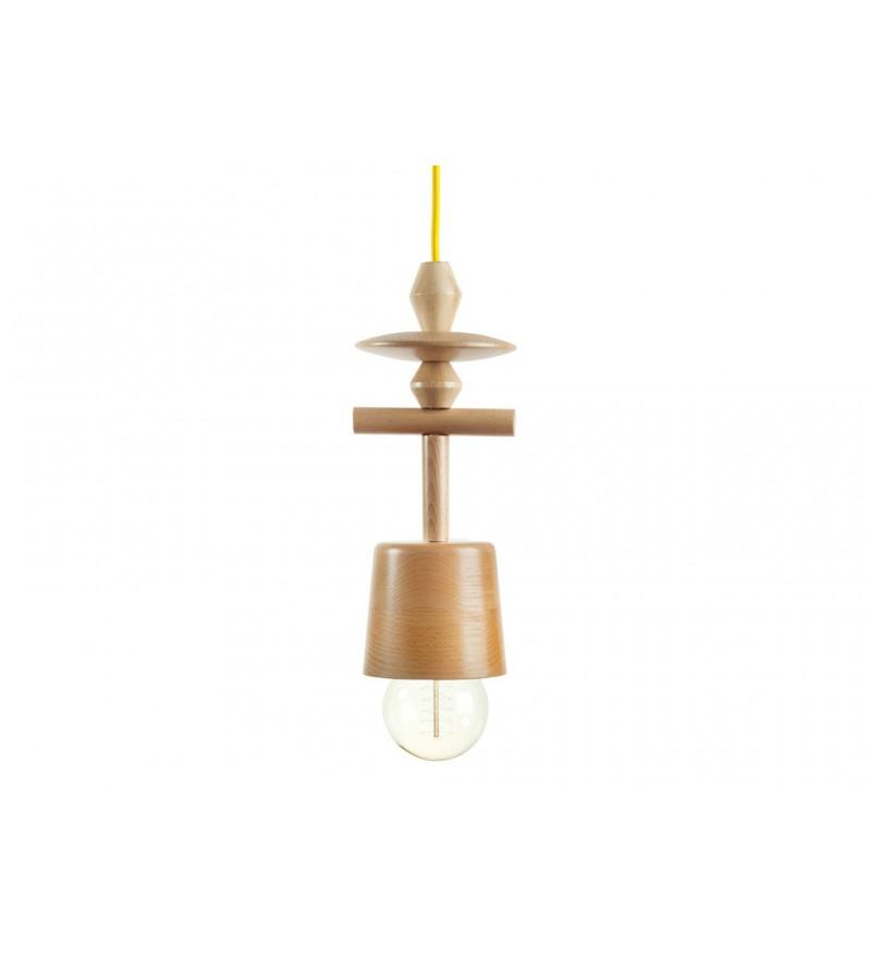 Jak korale z lasu, lampa Totem z toczonych korali drewnianych, Hop Design, Pufa Design