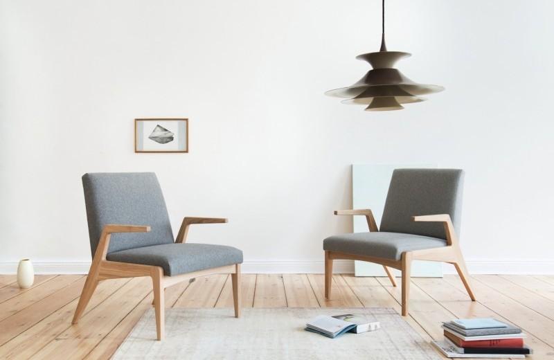 Fotel R-1378 projektu Janusza Różańskiego, Politura, Pufa Design