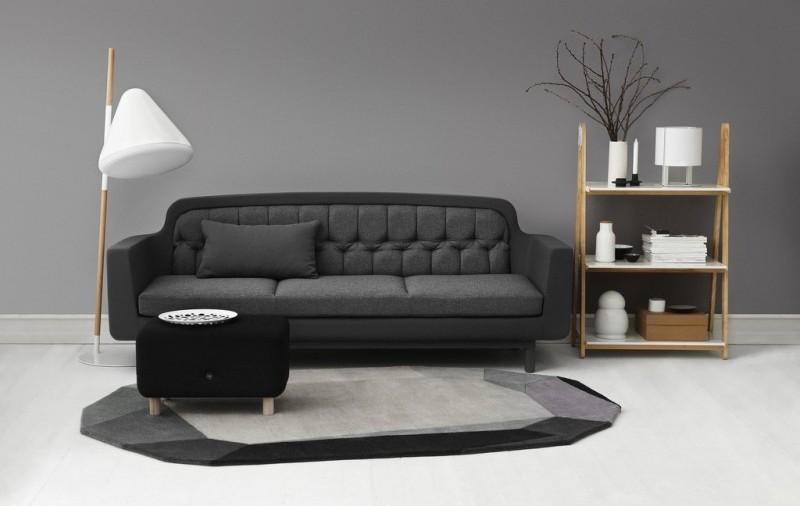 Lampa podłogowa HELLO dostępna jest w kolorze białym i ciemnoszarym, Normann Copenhagen, Pufa Design