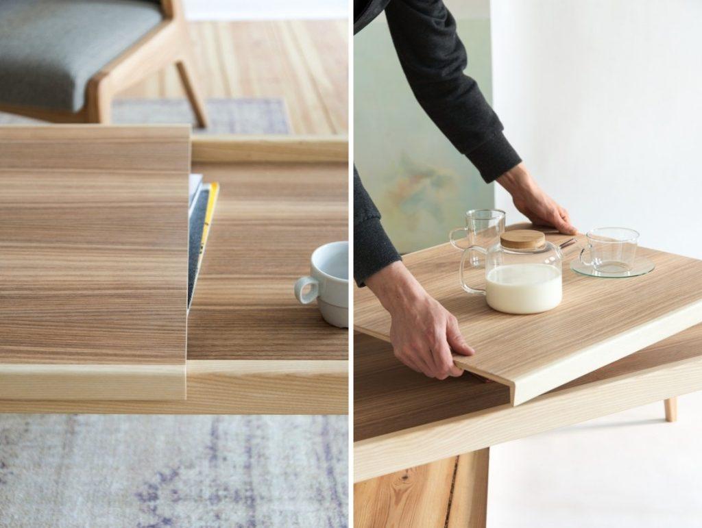 Stolik posiada element jest przesuwny. Można nim praktycznie zasłonić czasopisma i drobiazgi znajdujące się na blacie lub też użyć jako tacy, Pufa Design