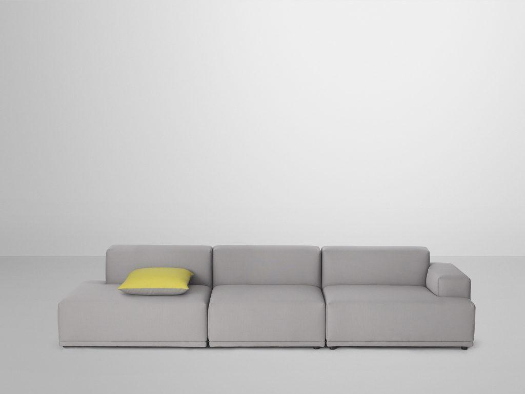 Sofa Connect, rodzaj tkaniny: Remix 123, Kvadrat, Muuto, Pufa Design