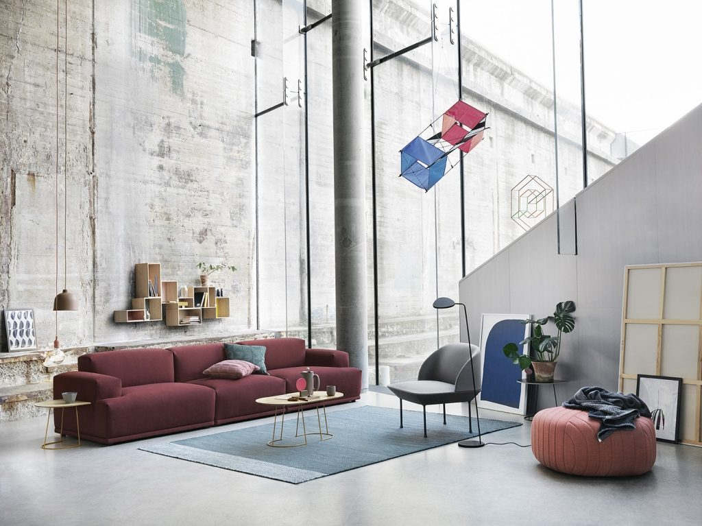 Sofa Connect, tkanina Remix 123, Kvadrat, Muuto, Pufa Design