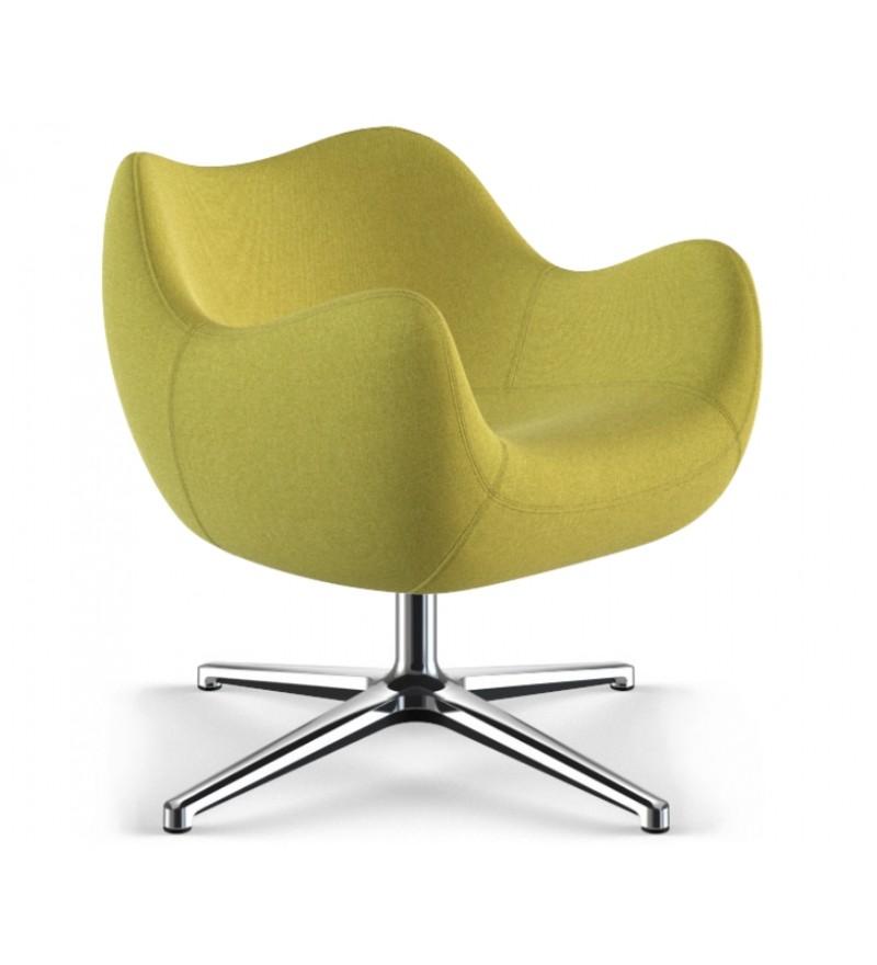 Fotel tapicerowany RM58, tkanina Medley z podstawą krzyżową, Vzór, Pufa Design