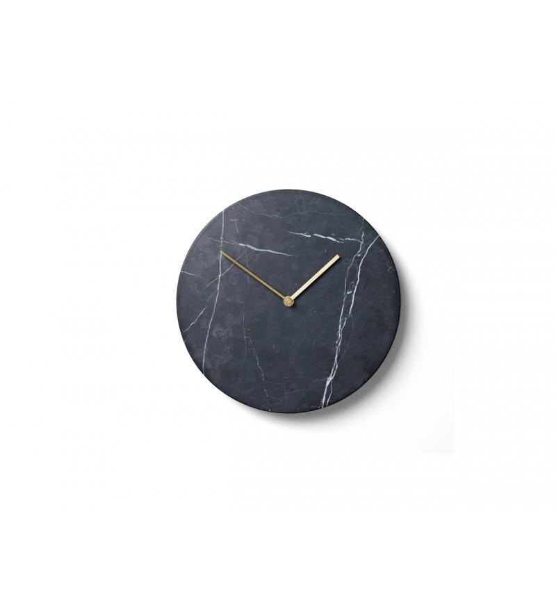 Zegar ścienny Marble Wall, czarny marmur, mosiężne wskazówki, Menu, Pufa Design