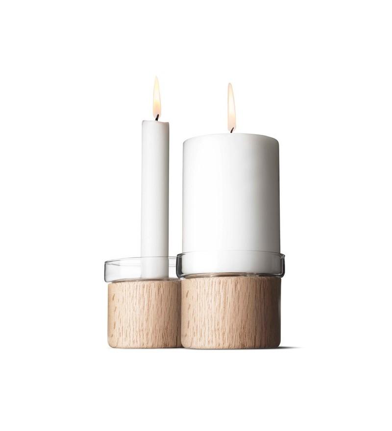 Nastrojowe i naturalne, świeczniki Chunk z dębu, Menu, Pufa Design
