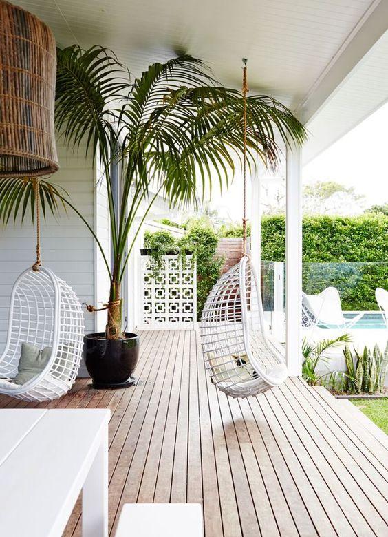 W domu lub na tarasie, pomysł na rattanowy fotel wiszący HK Living, Pufa Design