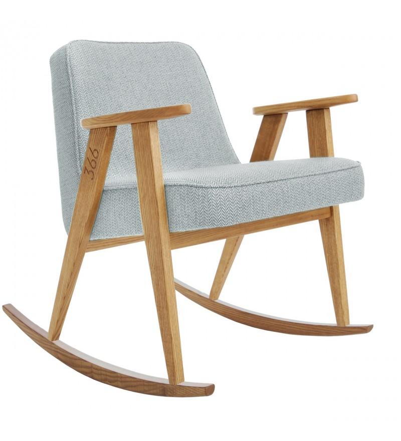 Fotel bujany 366 projektu Józefa Chierowskiego, różne tkaniny, drewno jesionowe, 366 Concept, Pufa Design
