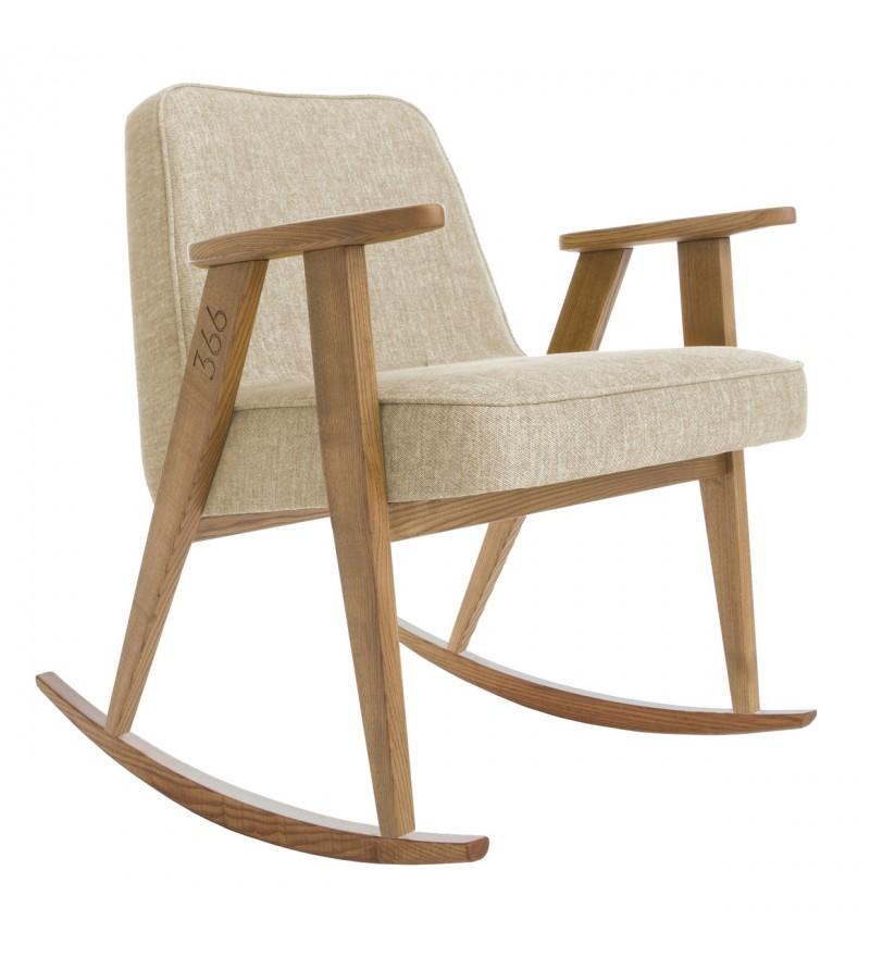 Fotel bujany drewniany PLUS 366 Concept - powiększony rozmiar dla wygodny, Pufa Design