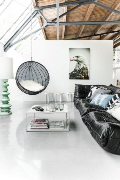 Fotel wiszący Bowl Rotan, HK Living, kolor czarny, Pufa Design