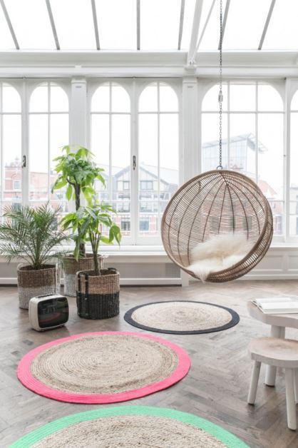 Fotel wiszący Bowl Rotan, HK Living, kolor naturalny, Pufa Design