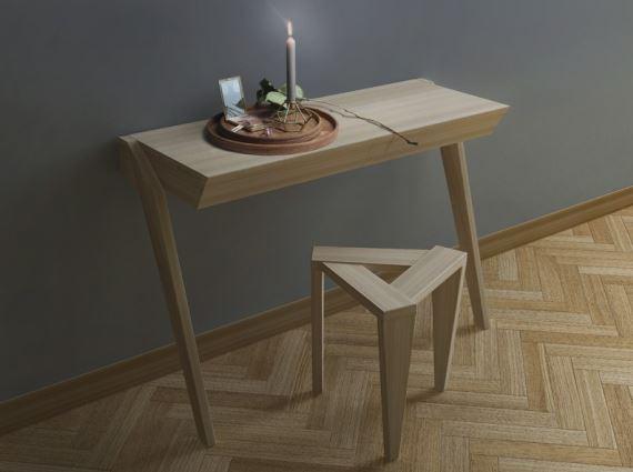 Konsola REDS w komplecie ze stołkiem UKOS, Iwona Kosicka Design w Pufa Design