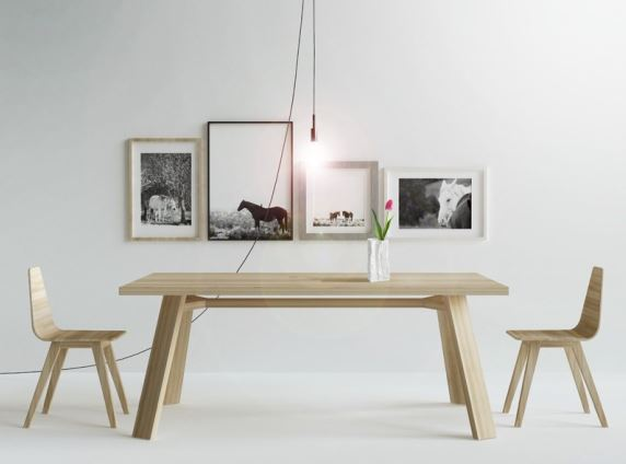 Stół CROSS w aranżacji salonu z krzesłami FORM, Iwona Kosicka Design w Pufa Design