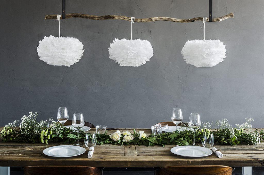 Eos nad stołem, zawieszony na gałęzi, ozdoba na okazję i nie tylko, Vita Copenhagen, Pufa Design