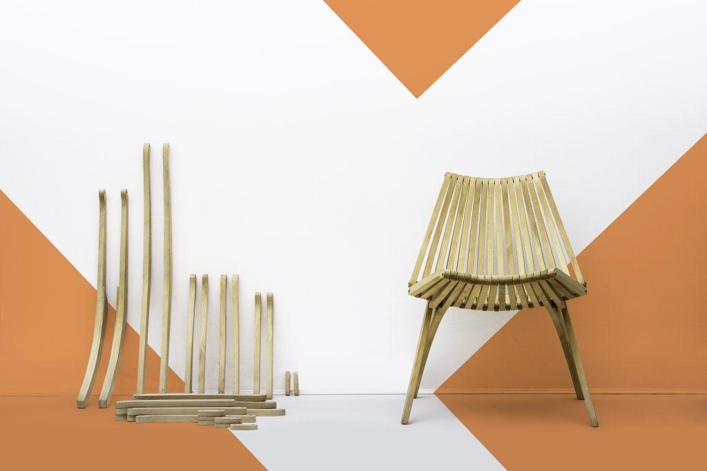 Lotos, krzesło zaprojektowane przez Romualda Ferensa, Politura, Pufa Design