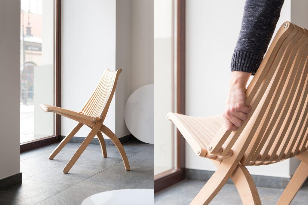 Krzesło LOTOS POLITURA - buk naturalny, pufa Design