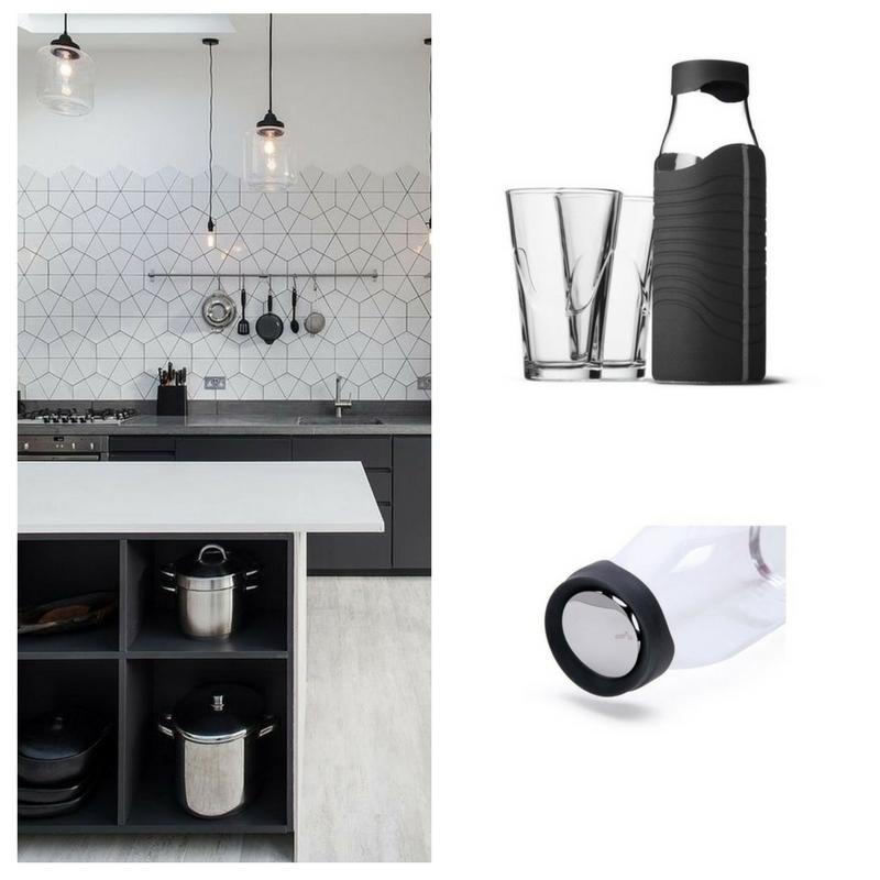 Karafka w pokrowcu czarno-szarym + 2 szklanki, Menu, Pufa Design