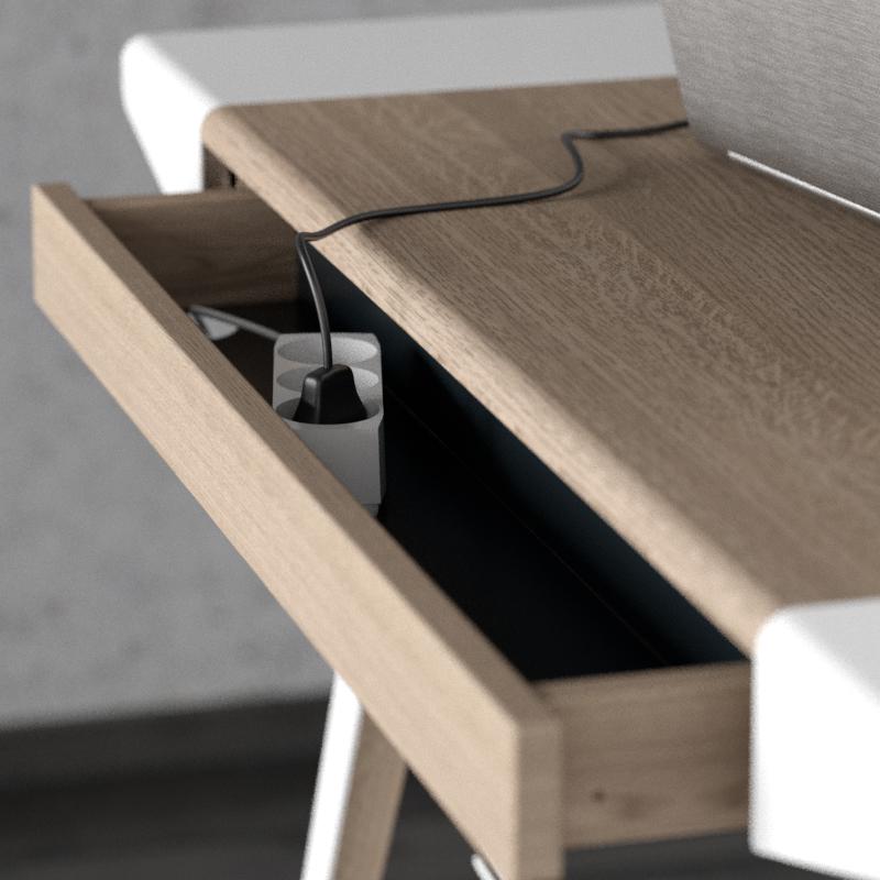 Szuflada na ładowarkę z tyłu biurka, to jedno z wielu rozwiązań pomagających zachować porządek na biurku Ambitions, Pufa Design