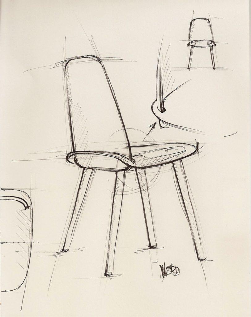 Szkic krzesła Nerd, zaprojektował je Davis Geckeler dla Muuto, krzesło dostępne jest w Pufa Design