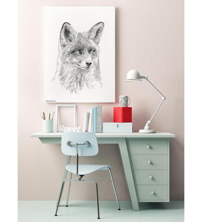 Obraz FOX - czarno-biały, 50x70cm (dostępne różne rozmiary)