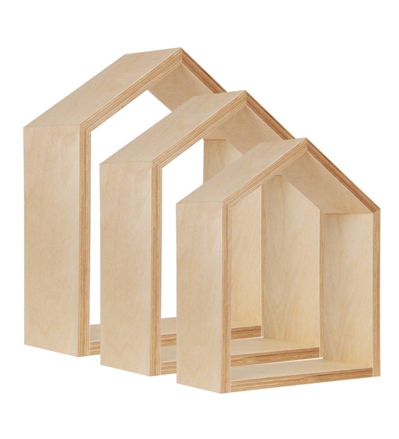 Półka domek, naturalne drewno, różne rozmiary, Young Deco