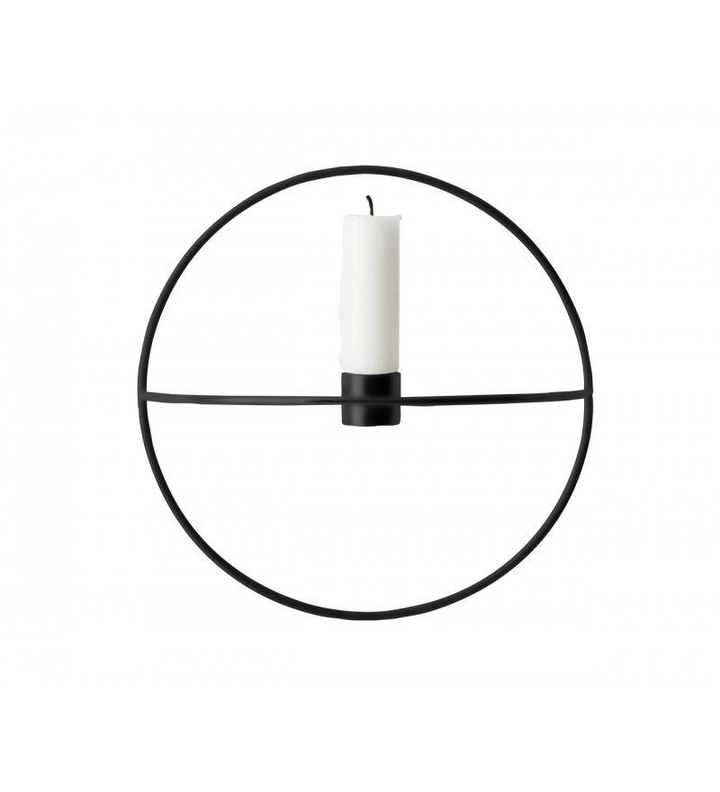 Świecznik okrągły - czarny Pov