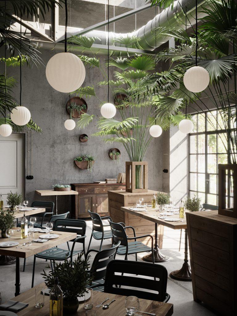 W restauracji lampa wisząca Bright Modeco