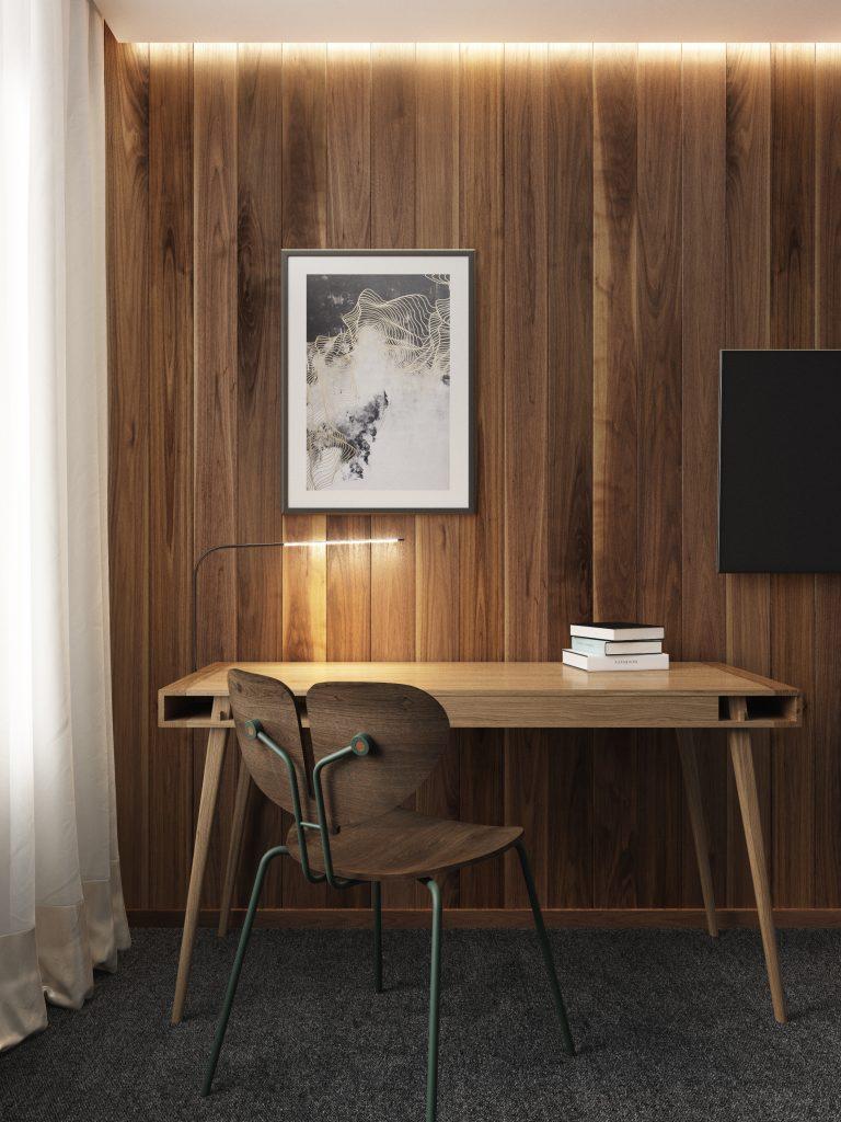 W hotelu i eleganckim apartamencie biurko Poet Table
